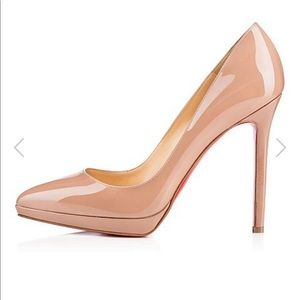 AUTH Christian Louboutin Pigalle Plato 120 Nude 36